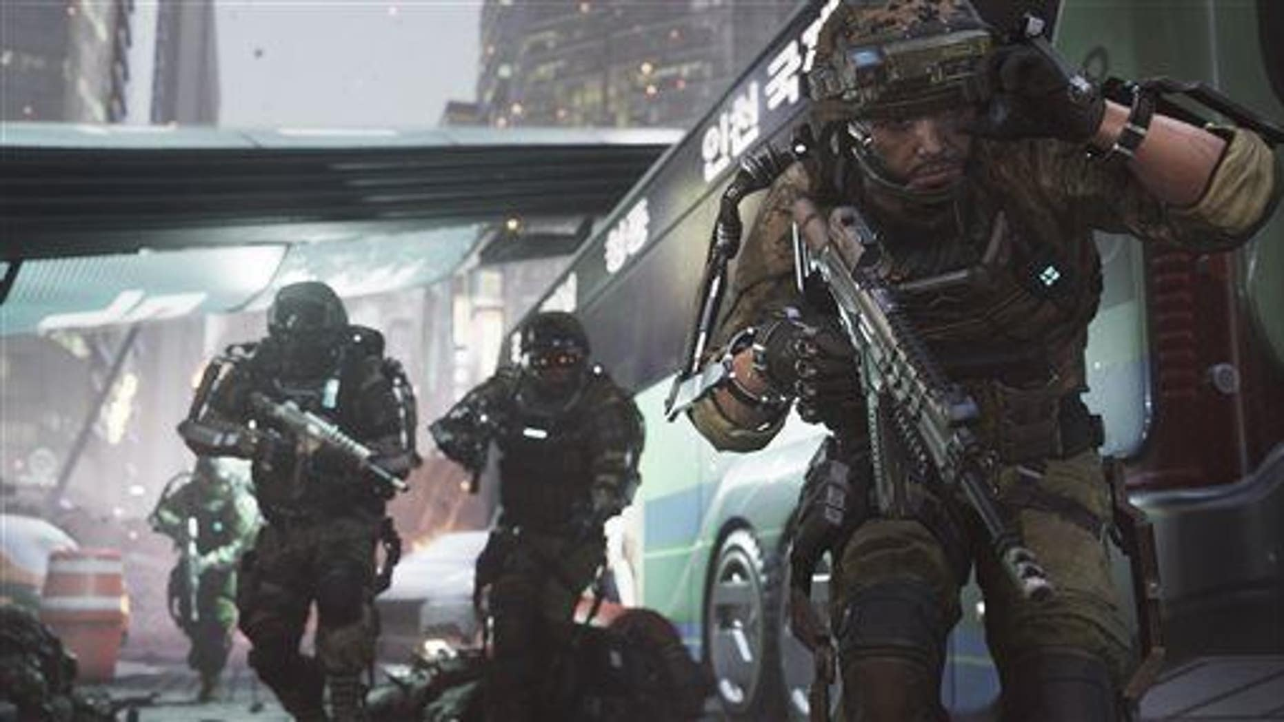 """This photo courtesy of Activision shows a scene from the video game """"Call of Duty: Advanced Warfare."""""""