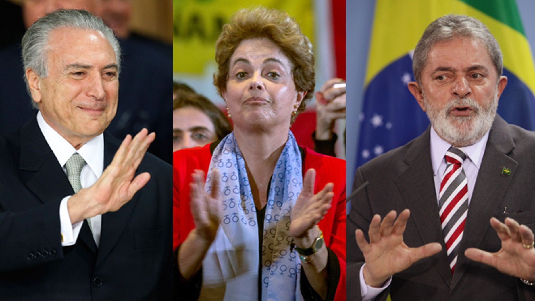 From Left: Brazil's acting President Michel Temer, elected President Dilma Rousseff and former President Luis Inacio Lula da Silva. (Photos: Getty Images)