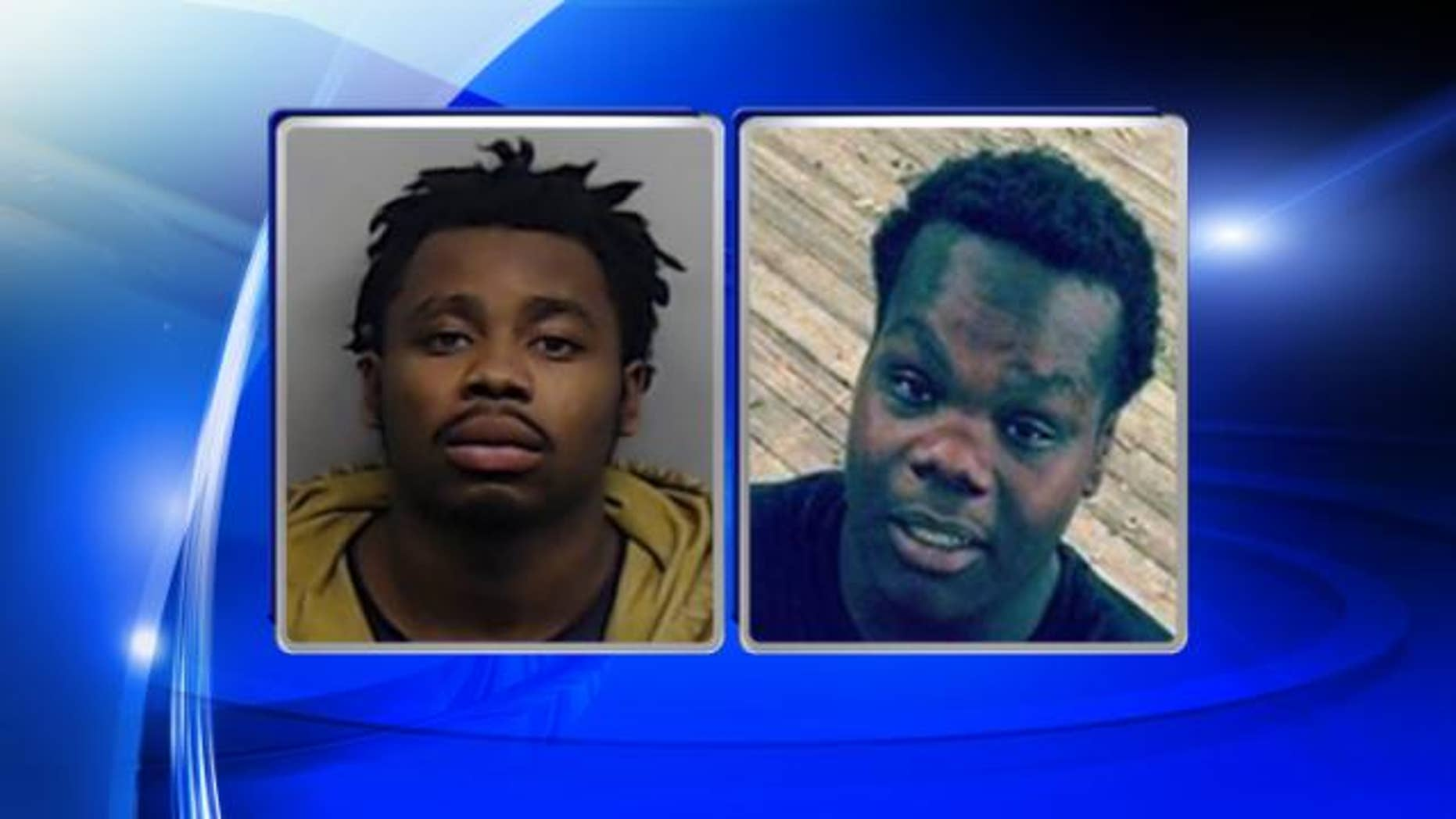 """Authorities are searching for suspects Jakym """"Jak"""" Camel Tibbs, left, and Quantavious Thompson, right, in the kidnapping of a North Carolina prosecutor's father two weeks ago."""