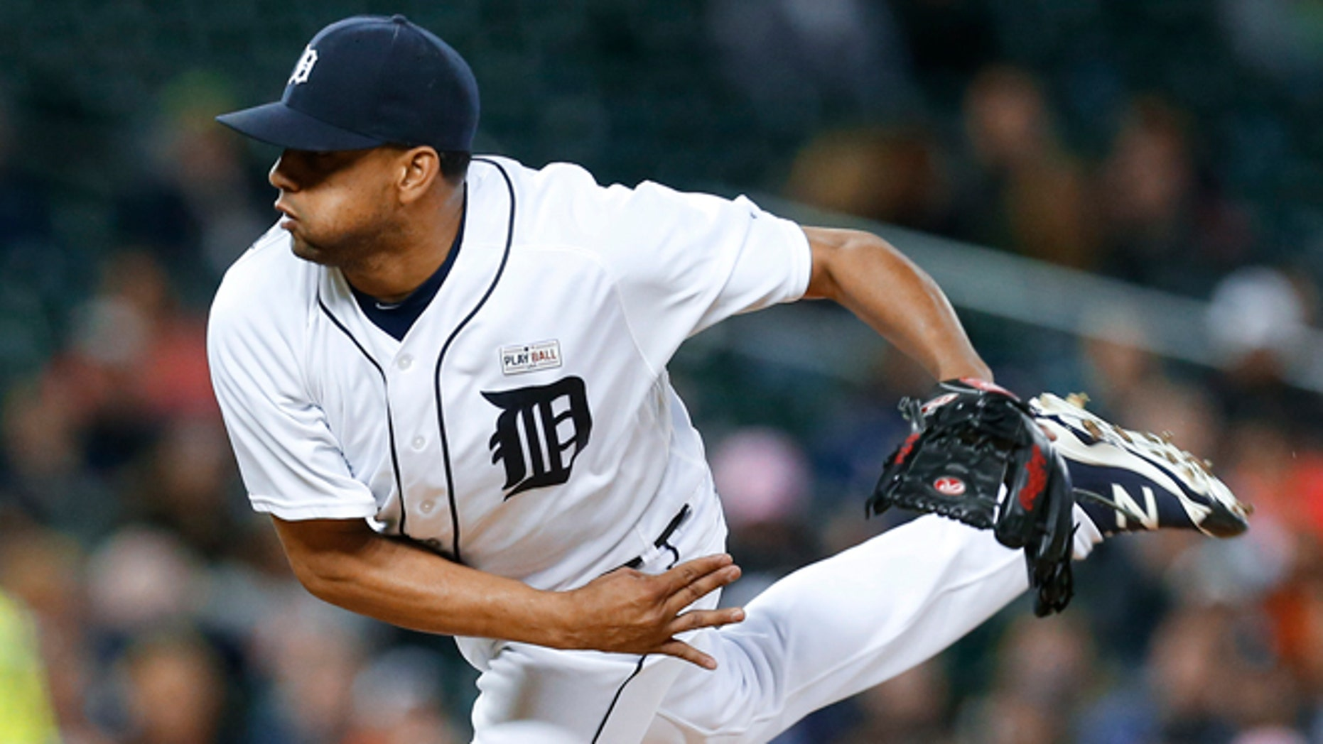 Detroit Tigers relief pitcher Francisco Rodriguez throws against the Minnesota Twins in the ninth inning of a baseball game, Monday, May 16, 2016 in Detroit. Detroit won 10-8. (AP Photo/Paul Sancya)
