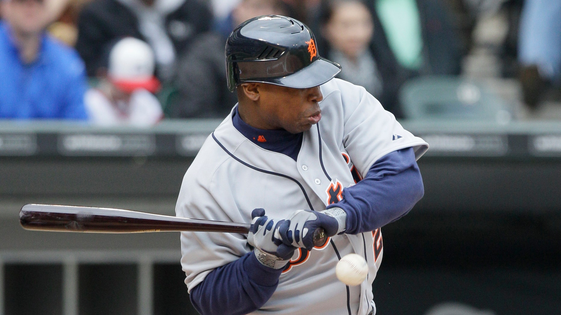 April 14, 2012: Detroit Tigers' Delmon Young is hit by a pitch from Chicago White Sox starter Gavin Floyd during the second inning of an baseball game in Chicago. (AP)