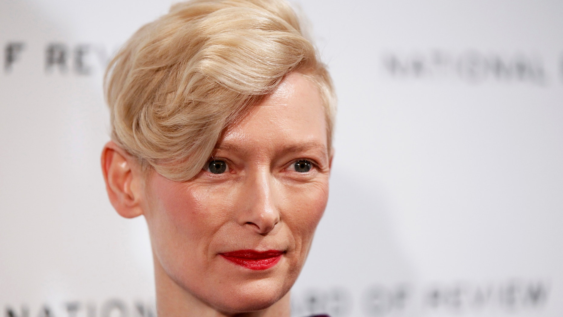 Actress Tilda Swinton arrives to accept the Best Actress award at the National Board of Review Awards Gala in New York January 10, 2012.