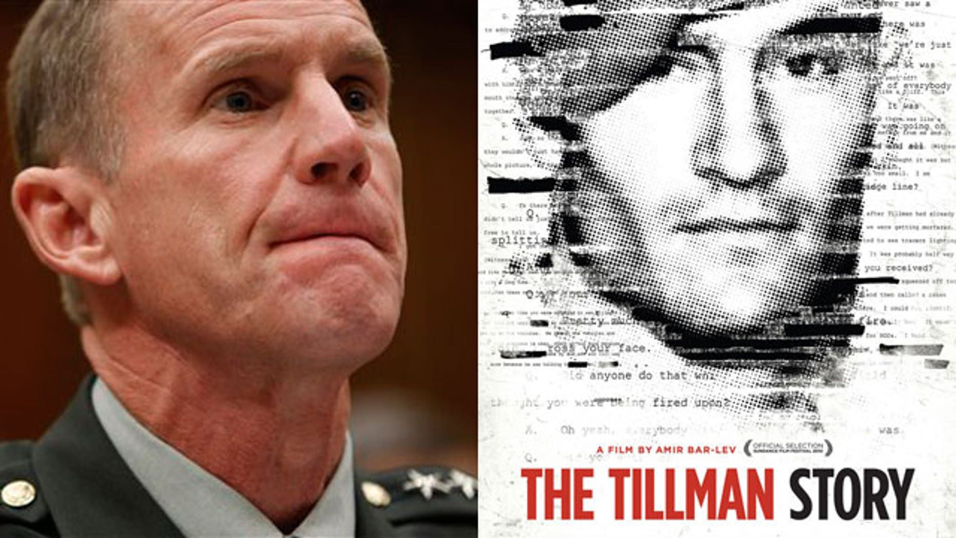 Gen. Stanley McChrystal (left) and a promotional poster for the film 'The Tillman Story'