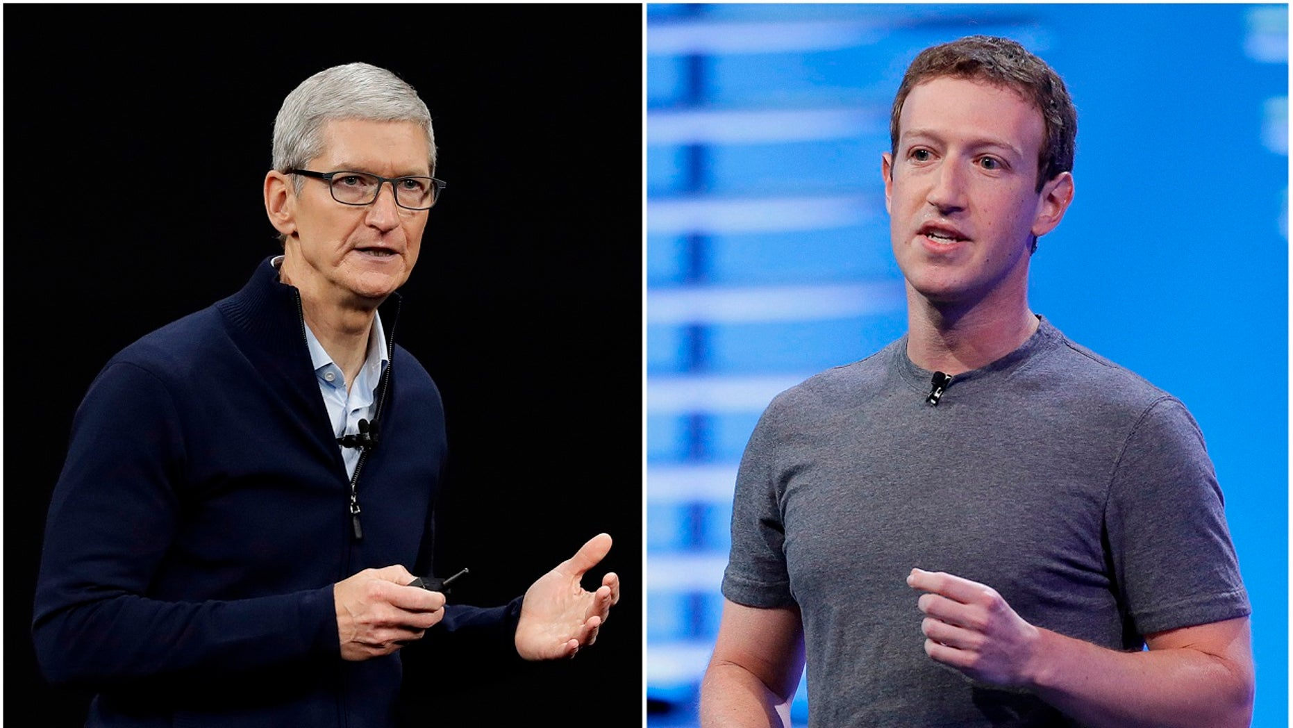 SPLIT IMAGE: Apple CEO Tim Cook speaks on the new Apple campus in 2017; Facebook CEO Mark Zuckerberg in San Francisco in 2016.