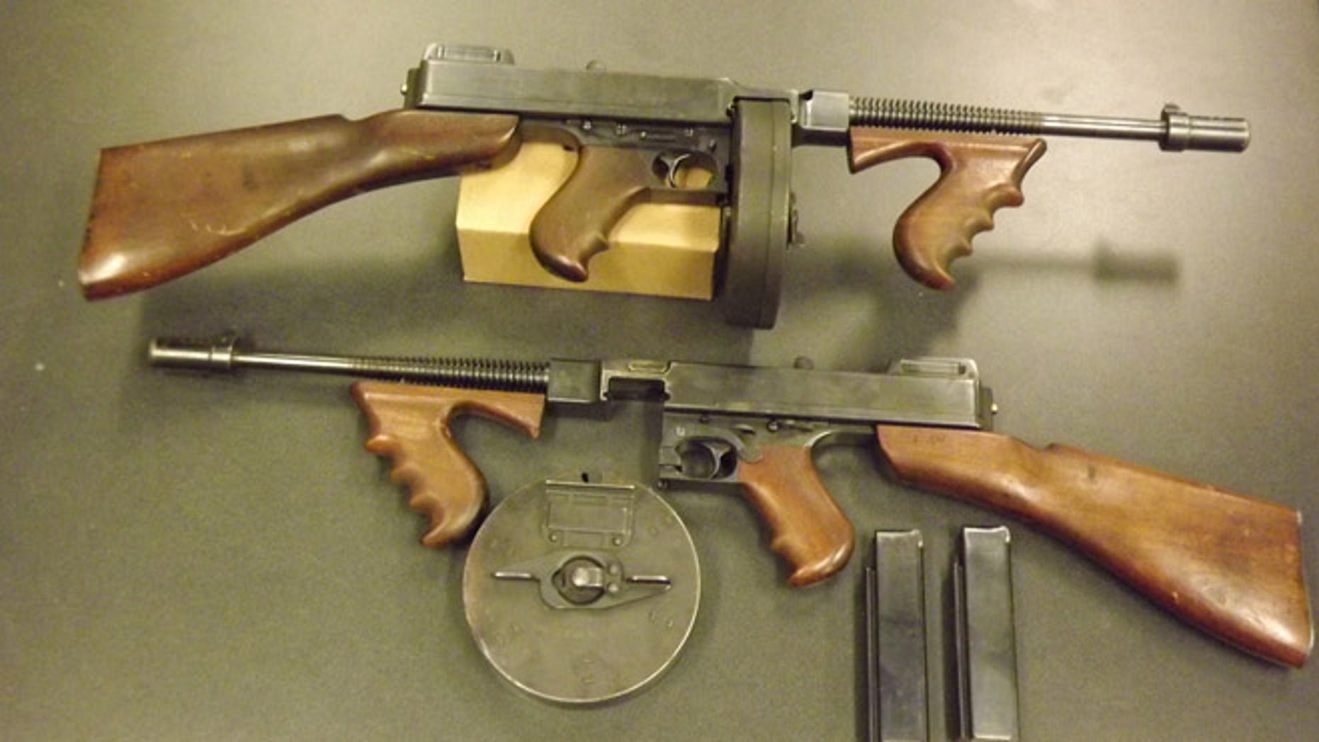 The Forsyth County Sheriff's office in North Carolina will trade this pair of Thompson submachine guns for 88 Bushmaster rifles. the guns, which were made in 1928, are coveted by collectors and are worth $60,000.
