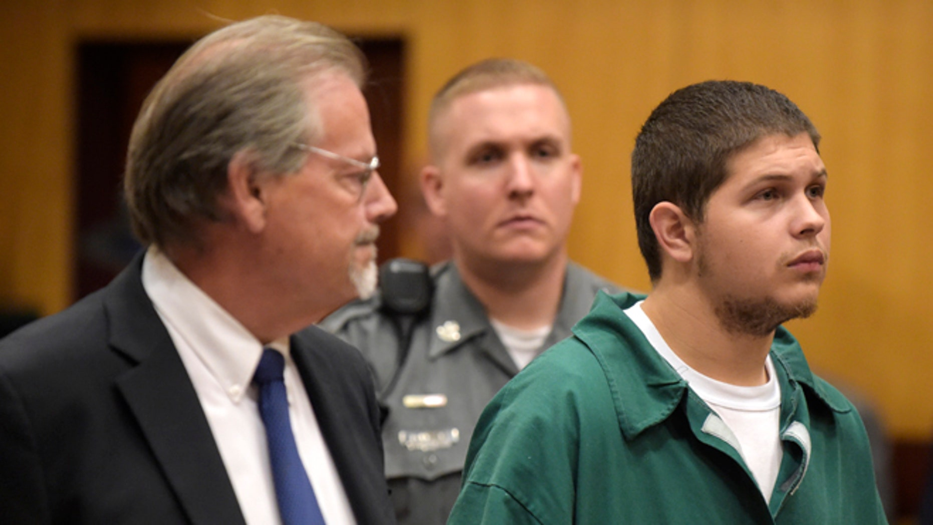 Tony Moreno, right, appears in Middletown Superior Court in Middletown, Conn., on Tuesday, July 21, 2015, with his lawyer, James McKay. Moreno's case has been continued by Judge David P. Gold until September 15. Moreno is charged with murder in the death of 7-month-old Aaden Moreno. Heis accused of throwing his infant son to his death off the Arrigoni Bridge and into the Connecticut River.  (Patrick Raycraft/The Courant via AP, Pool)