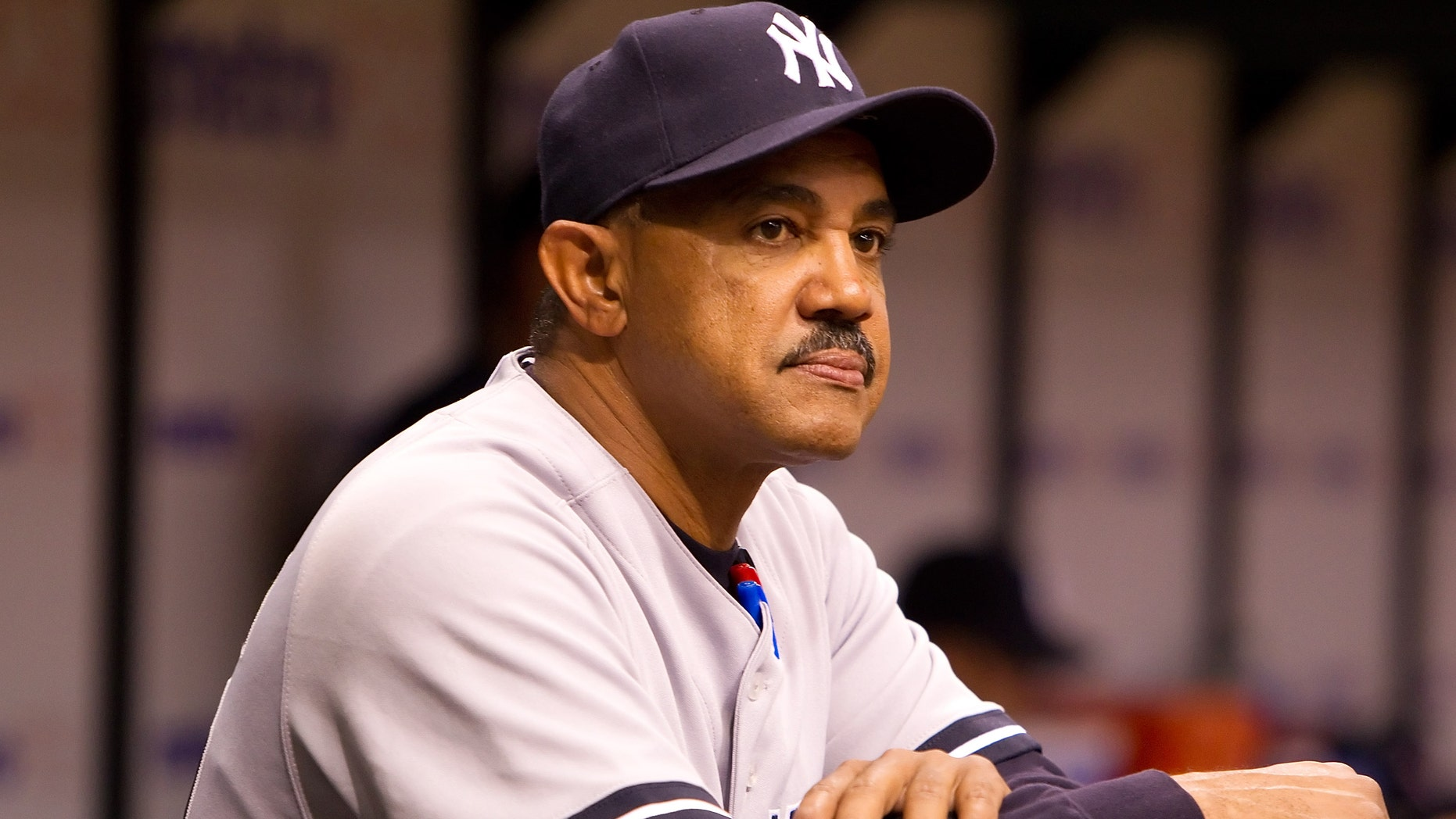 ST PETERSBURG, FL - APRIL 09:  Bench Coach Tony Pena #56 of the New York Yankees watches his team from the dugout against the Tampa Bay Rays during the game at Tropicana Field on April 9, 2010 in St. Petersburg, Florida.  (Photo by J. Meric/Getty Images)