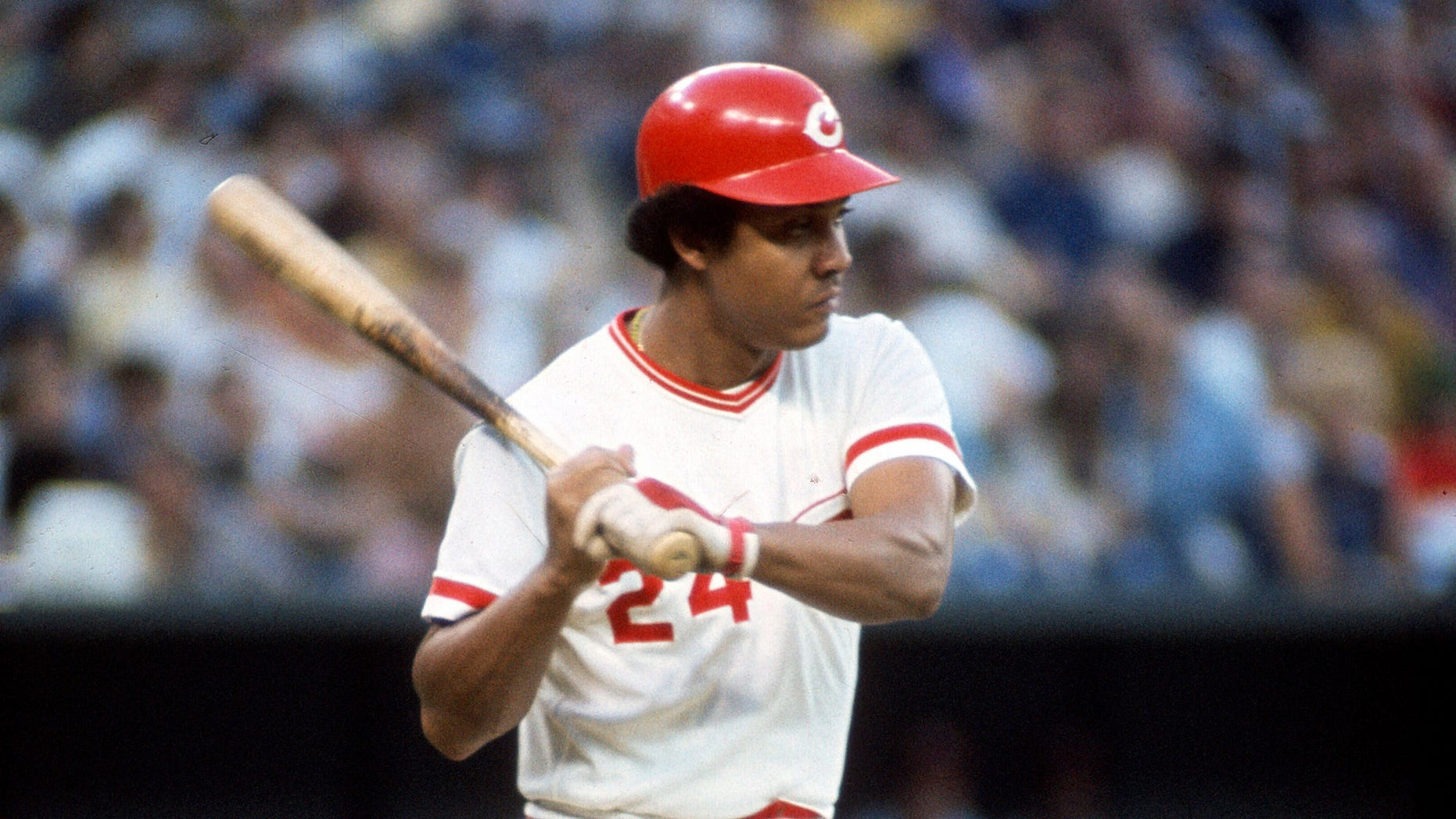 CINCINNATI, OH - CIRCA 1972: First Baseman Tony Perez #24 of the Cincinnati Reds bats during an Major League Baseball game circa 1972 at Riverfront Stadium in Cincinnati, Ohio. Perez played for the Reds from 1964-76 and 1984-86. (Photo by Focus on Sport/Getty Images)