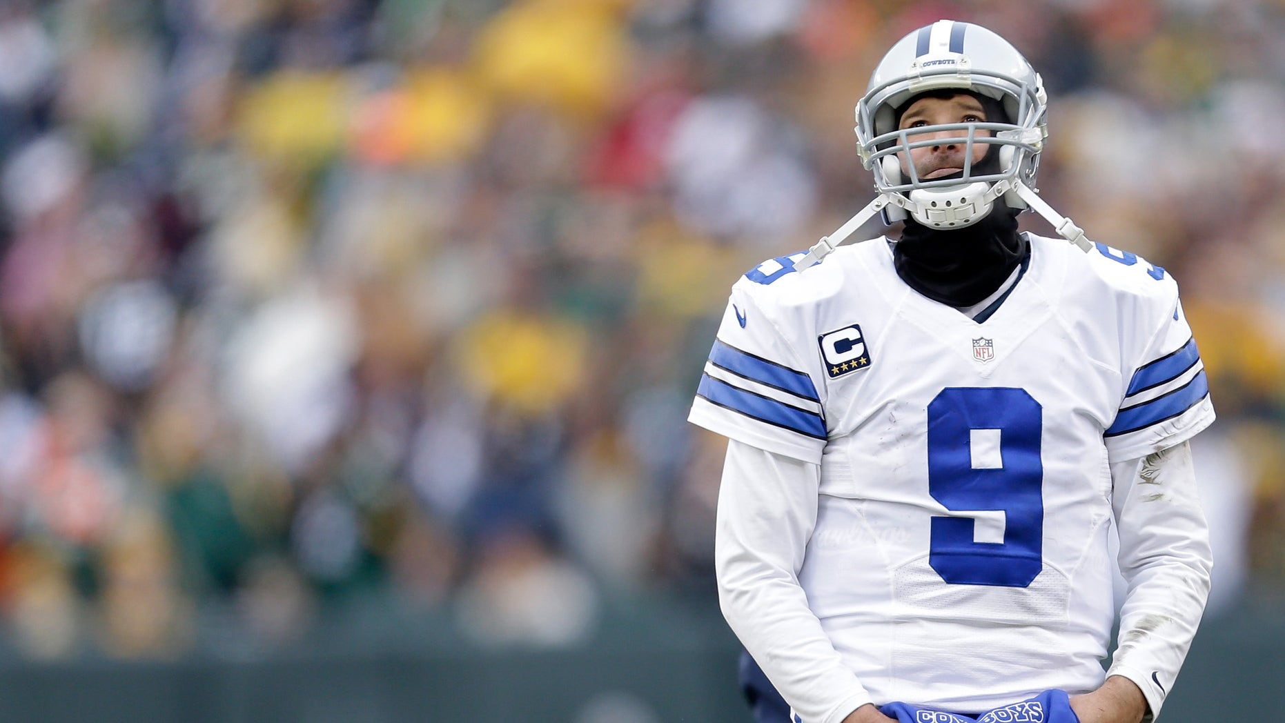 Tony Romo during the NFC Divisional Playoff game against Wisconsin's Green Bay Packers on January 11, 2015.