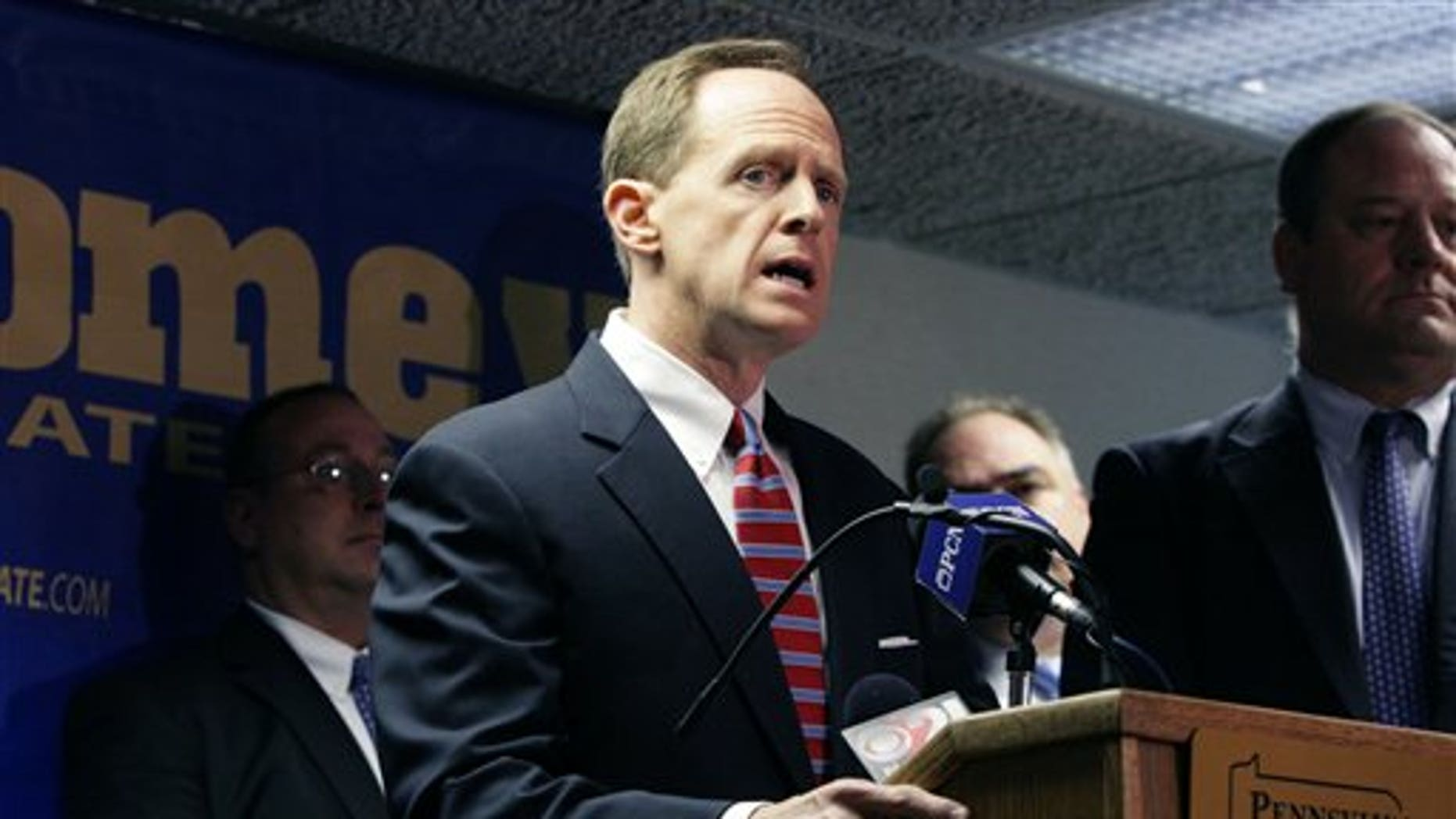 U.S. Senate candidate Pat Toomey talks during a news conference at which he received an official endorsement from the Pennsylvania State Troopers Association on Tuesday, Oct. 12, 2010, in Harrisburg, Pa. (AP Photo/Ann Foster)