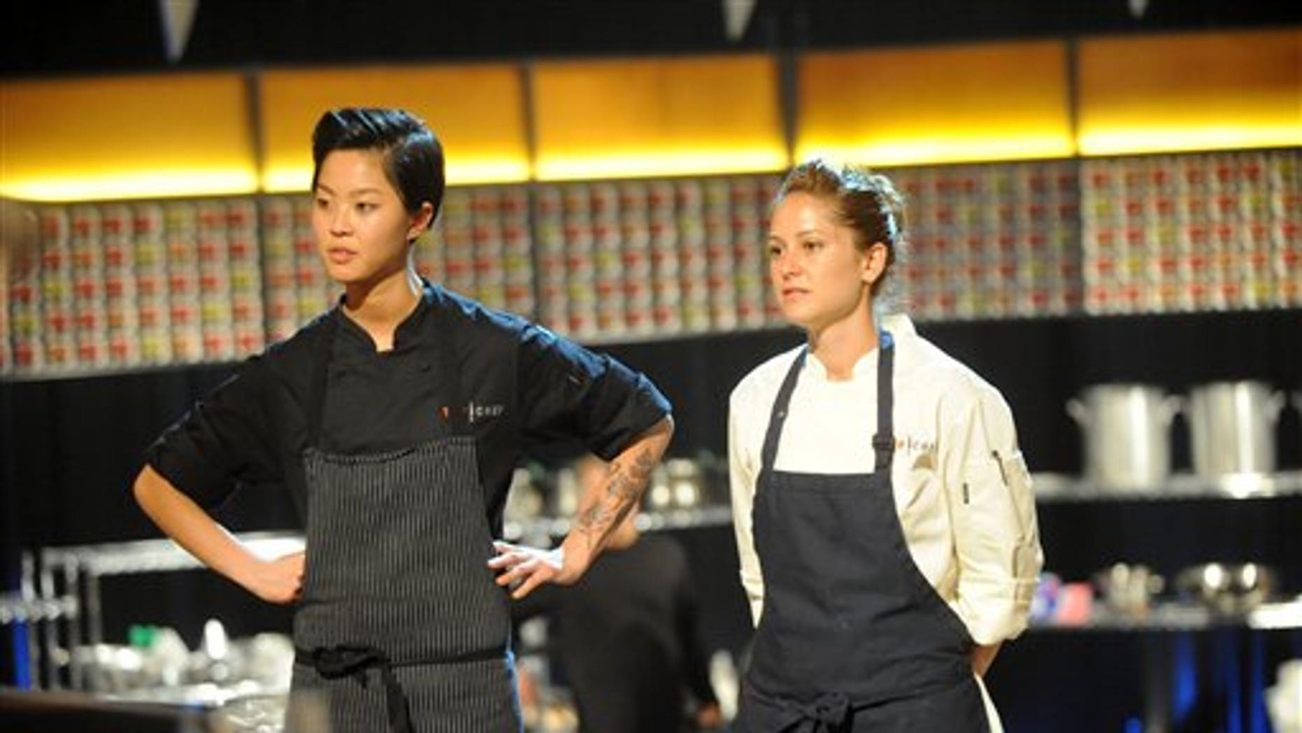 """This image released by Bravo shows chef contestants Kristen Kish, left, and Brooke Williamson in a scene from """"Top Chef: Seattle."""""""