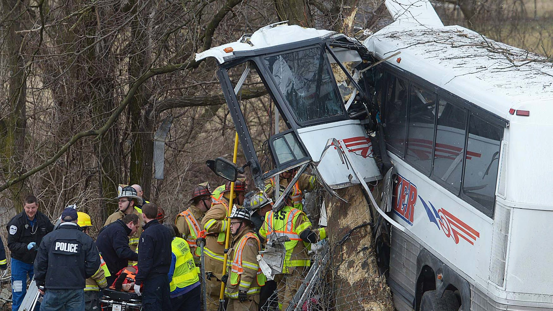 March 16, 2013: Emergency and rescue crews respond to the scene of a tour bus crash on the Pennsylvania Turnpike near Carlisle, Pa.