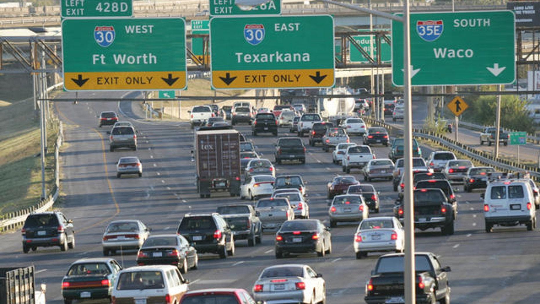 Traffic along a Dallas interstate.