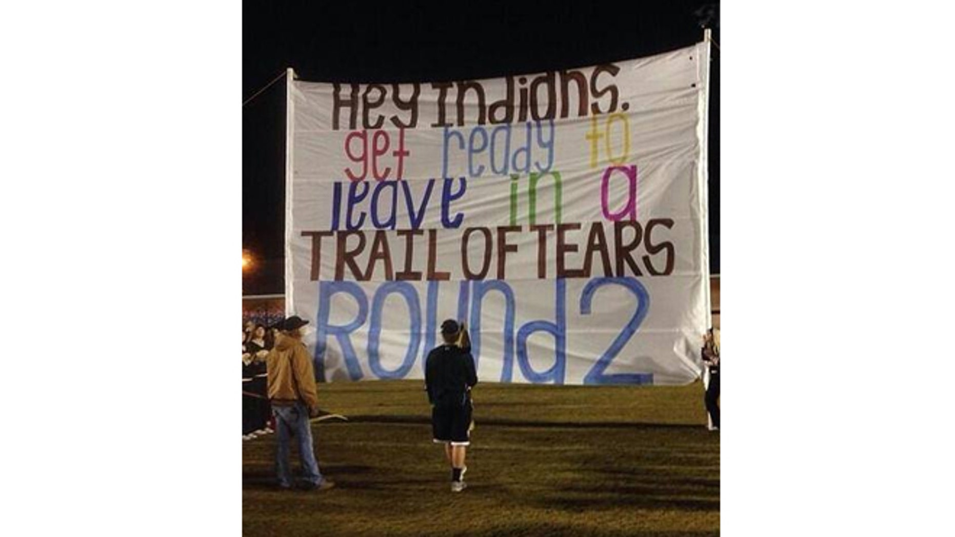 An Alabama high school was forced to apologize for a banner that some fans considered offensive.