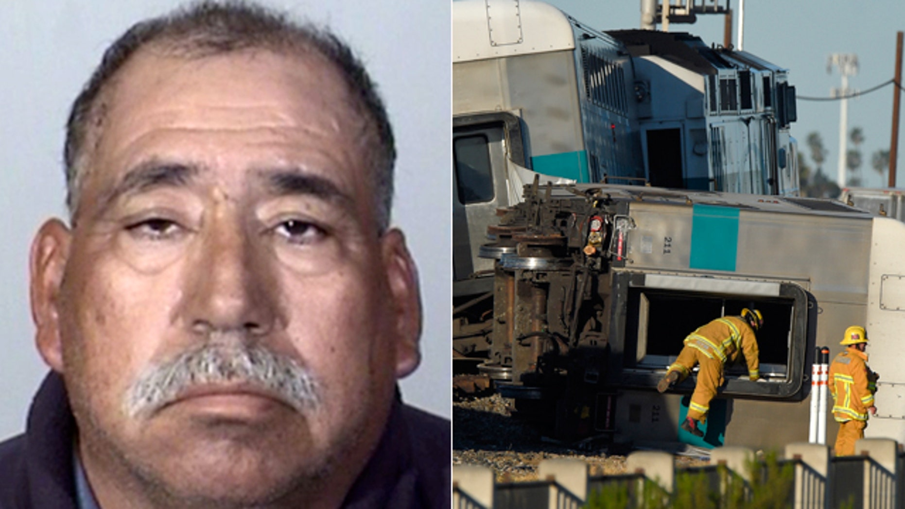 This booking photo provided by the Oxnard Police Department shows Jose Alejandro Sanchez-Ramirez, 54, of Yuma, Arizona, who was the driver of a pickup truck that a Southern California commuter train smashed into on Tuesday (right). (AP Photo/Oxnard Police Department)