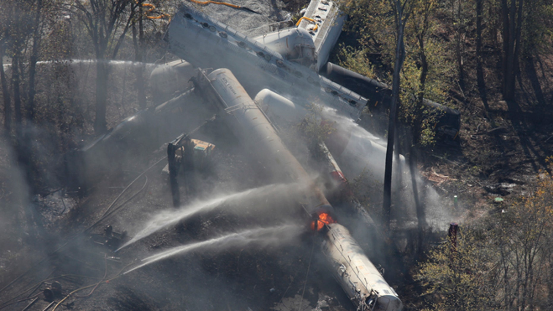 Oct. 31, 2012: Flames can be seen from the air after an explosion happened at the sight of a train derailment in southern Jefferson County, just south of Louisville, Ky.