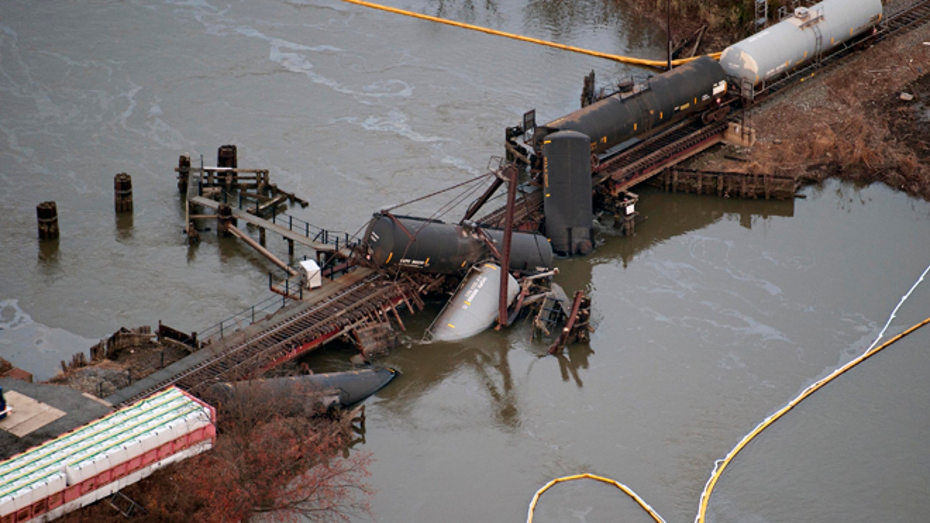 Nov. 30: Several cars lay in the water after a freight train derailed in Paulsboro, N.J.