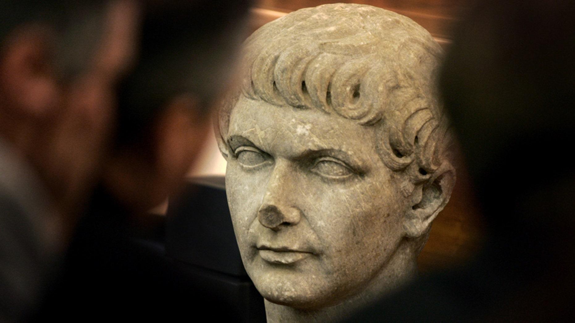 File photo of marble head statue representing Roman emperor Trajan.