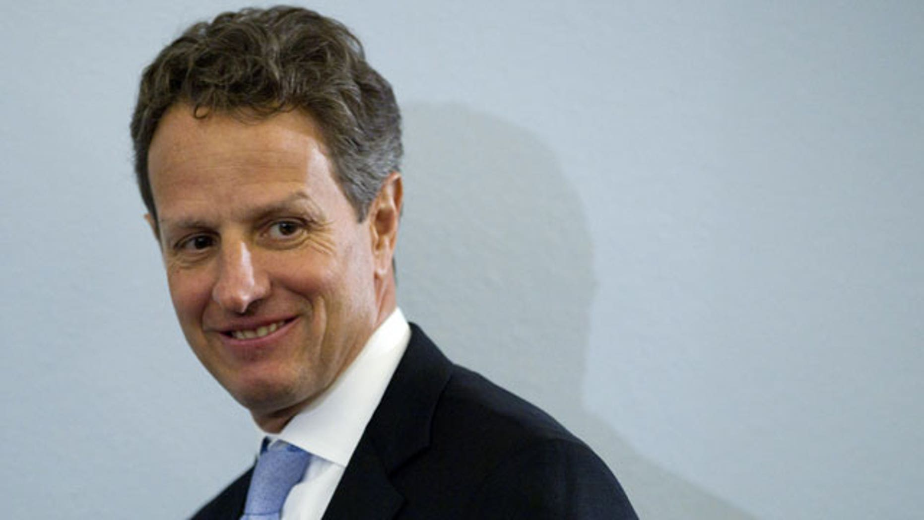 Feb. 16, 2012: Treasury Secretary Timothy Geithner arrives on Capitol Hill in Washington to testify before the House Budget Committee hearing on President Barack Obama's fiscal 2013 federal budget.