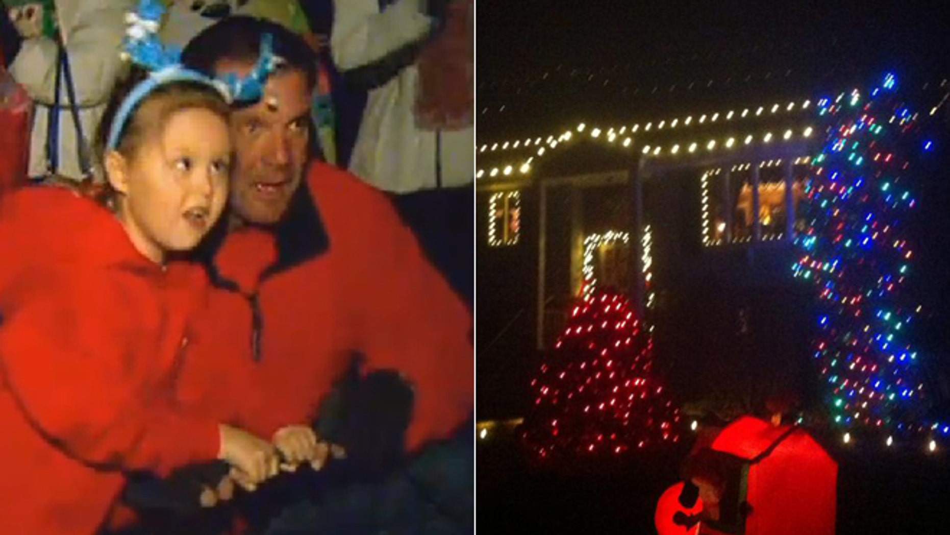 Left, Lily gets ready to see her family's home lit up in Christmas lights. Right, the final product.