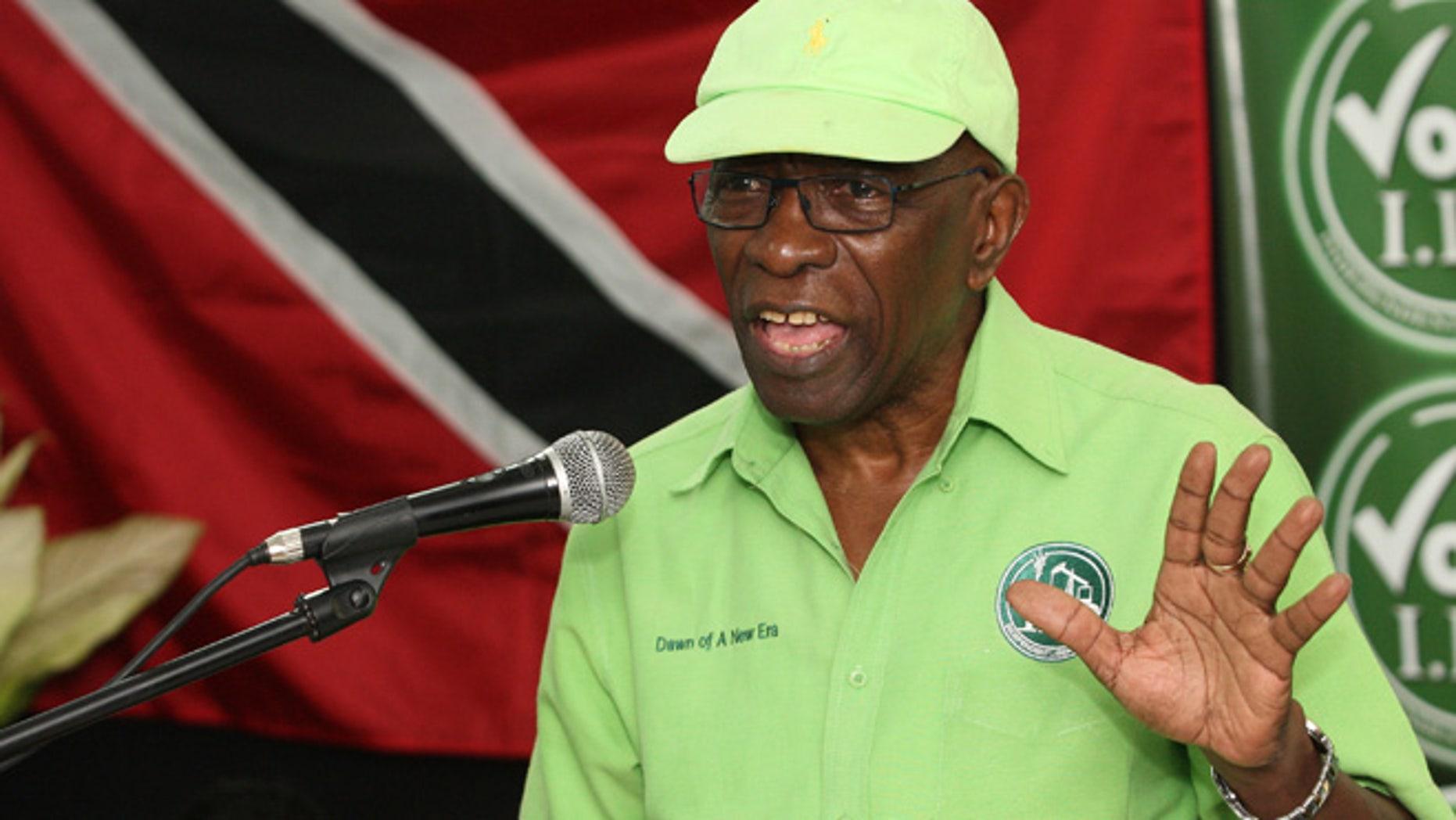 June 3, 2015: Former FIFA vice president Jack Warner speaks at a political rally in Marabella, Trinidad and Tobago.