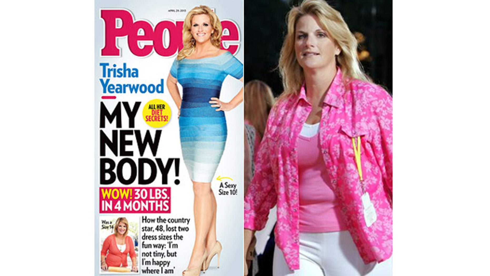 Trisha Yearwood on the cover of People magazine, left, and in 2005, right.