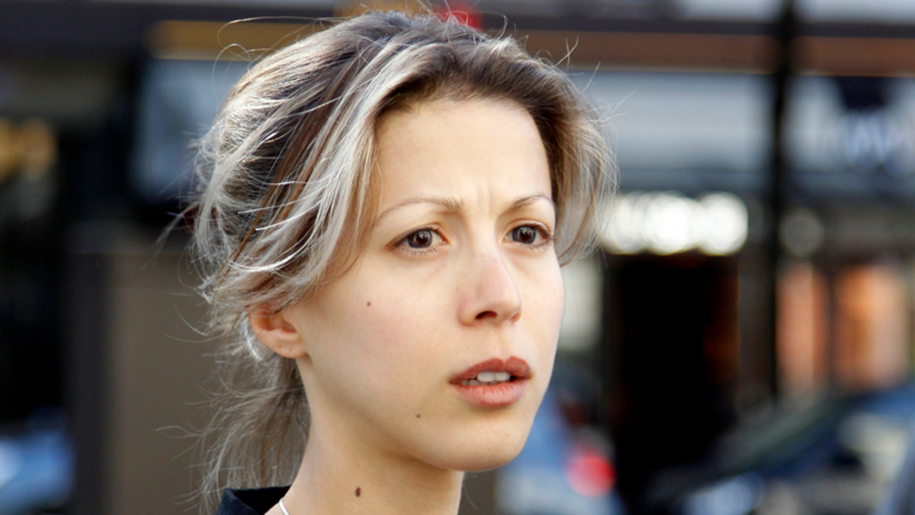May 17, 2011: French writer Tristane Banon leaves the office of her lawyer David Koubbi in Paris.