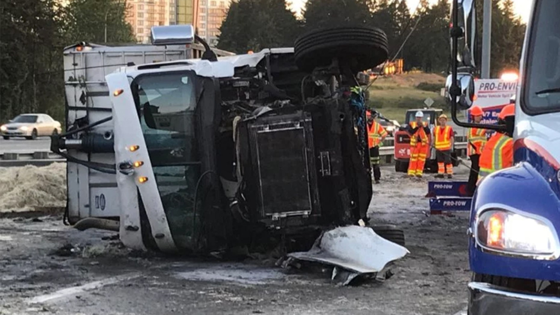 A semi overturned in Washington state Wednesday, snarling the early morning commute.