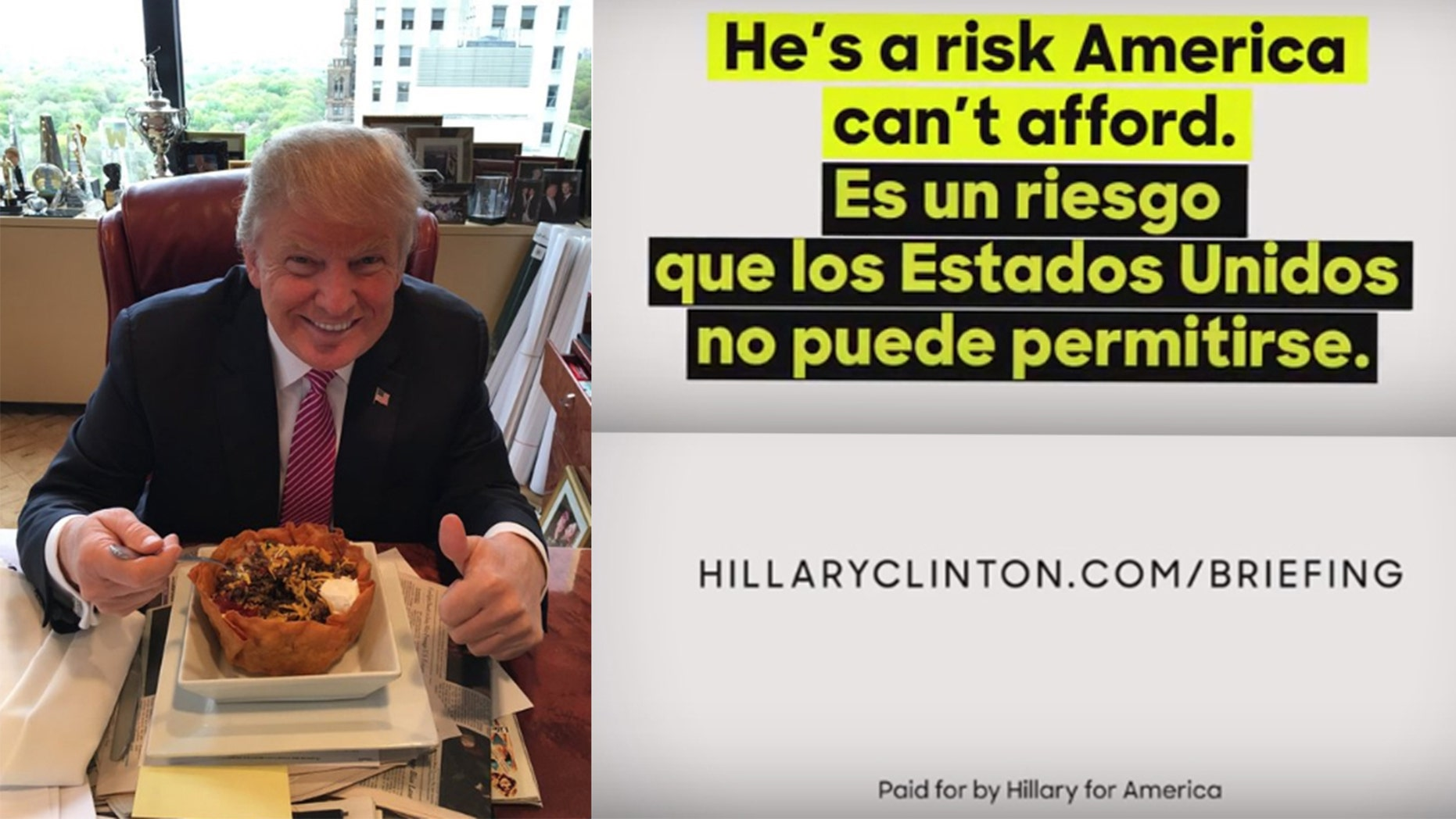 Photo on the left was tweeted by Donald Trump and images on the right are from an anti-Trump ad geared toward Latinos. Both were released on Cinco de Mayo.