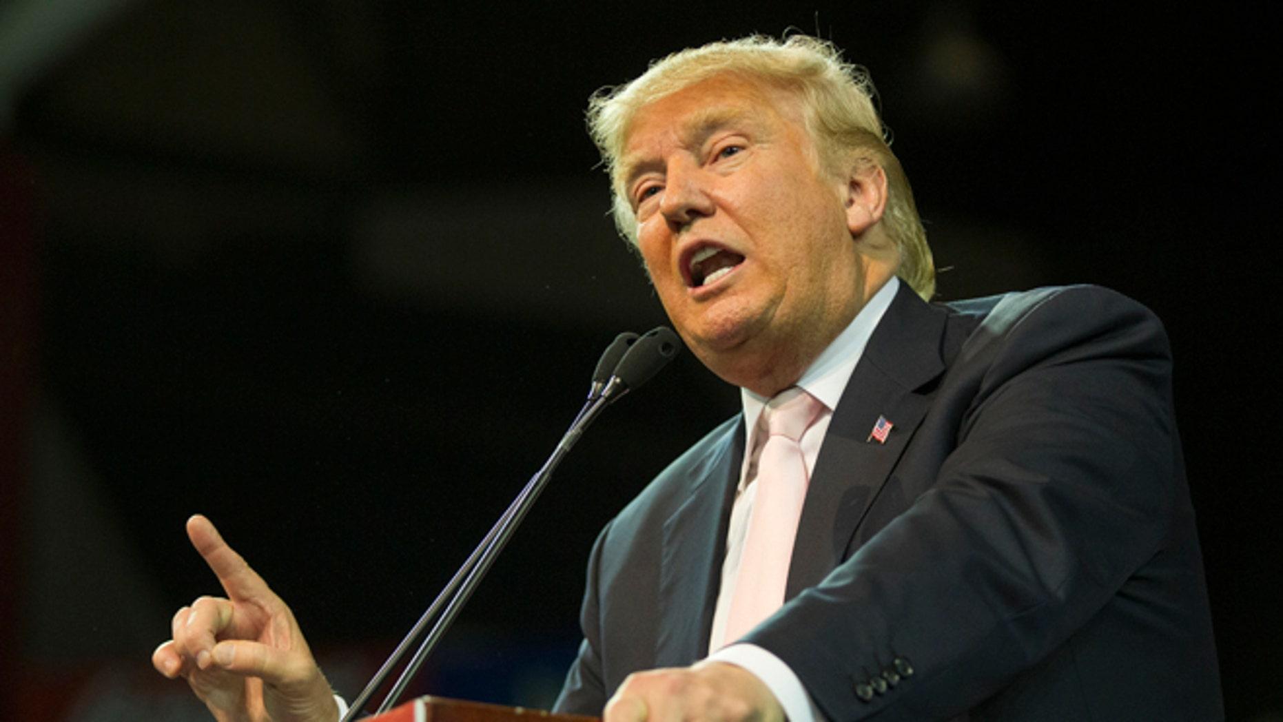 GOP presidential candidate Donald Trump on February 29, 2016 in Valdosta, Georgia.