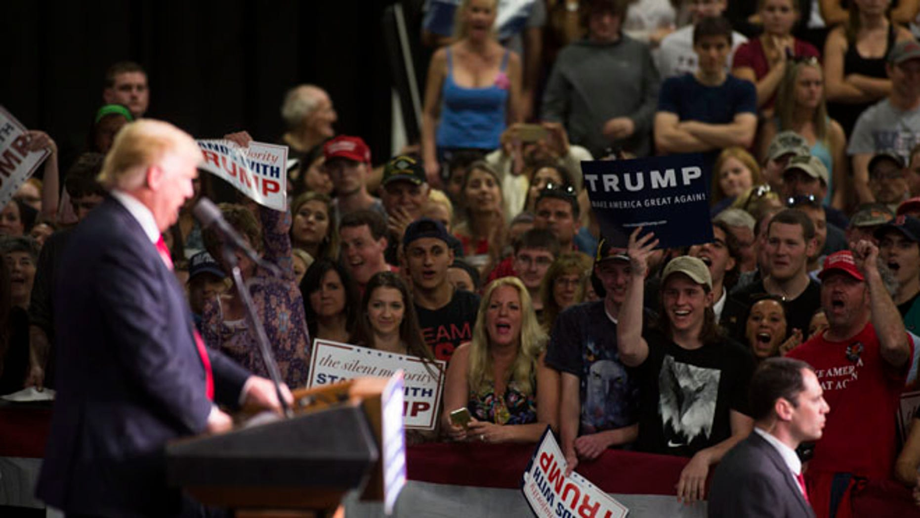 Republican presidential candidate Donald Trump speaks at a campaign rally on April 25, 2016 at West Chester University in West Chester, Pennsylvania. (Photo by Jessica Kourkounis/Getty Images)