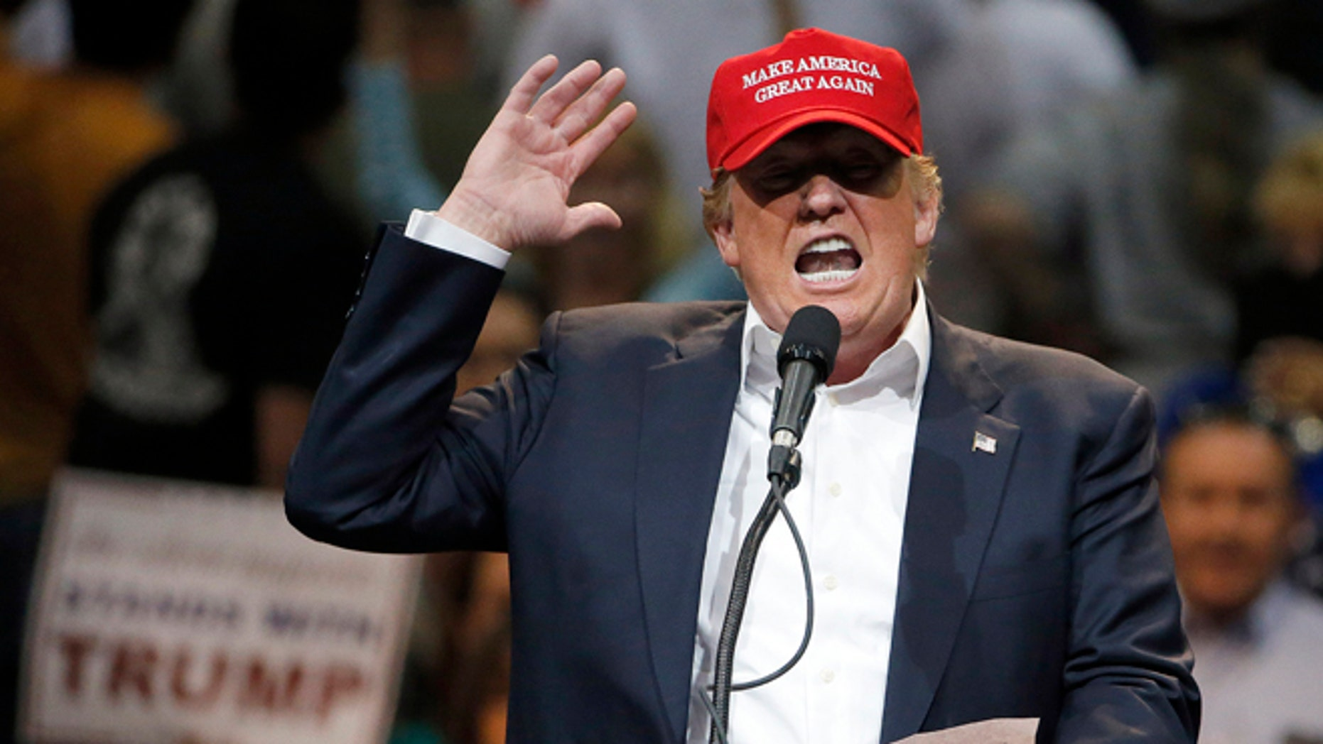 Presidential candidate Donald Trump during a campaign rally in Tucson, Ariz., on March 19, 2016.