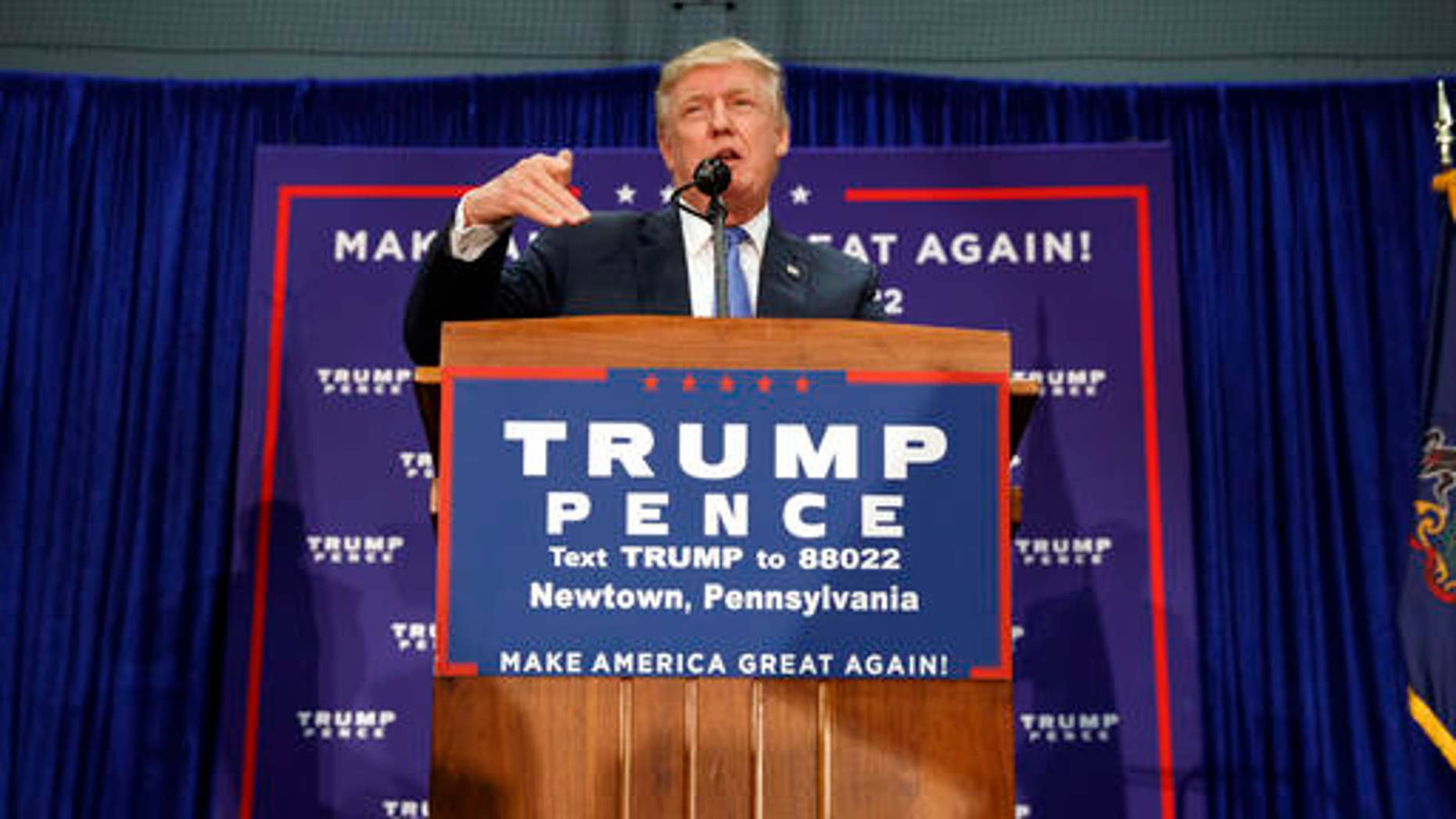 Republican presidential candidate Donald Trump speaks during a campaign rally, Friday, Oct. 21, 2016, in Newtown, Pa. (AP Photo/ Evan Vucci)