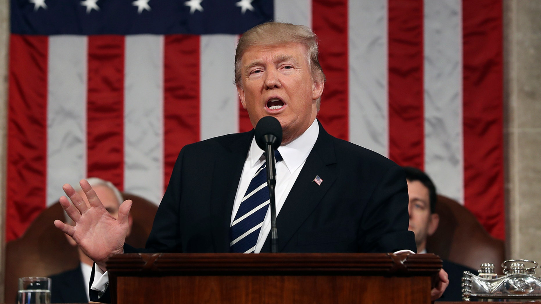 President Donald Trump speaks on Capitol Hill in Washington, Tuesday, Feb. 28, 2017, during his address to a joint session of Congress. (Jim Lo Scalzo/Pool Image via AP)