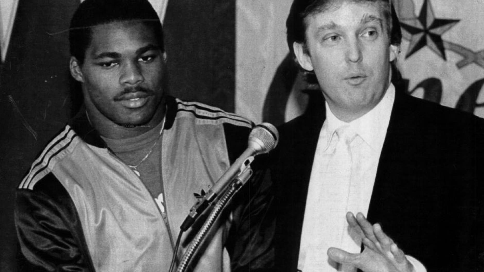 EAST RUTHERFORD, NJ - CIRCA 1983: Team Owner Donald Trump announces he has signed Herschel Walker to play running back for the New Jersey Generals in New Jersey. Walker played for the General form 1983-85. (Photo by Sporting News via Getty Images)