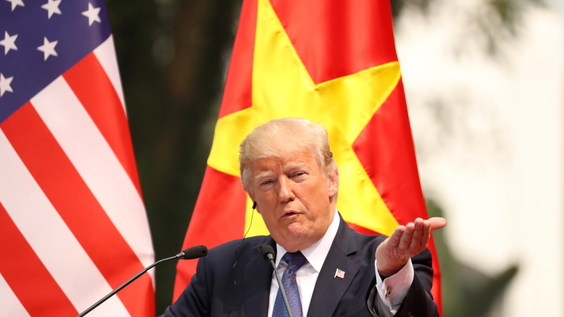 President Donald Trump speaks during a news conference at the Presidential Palace in Hanoi, Vietnam, Nov. 12, 2017.