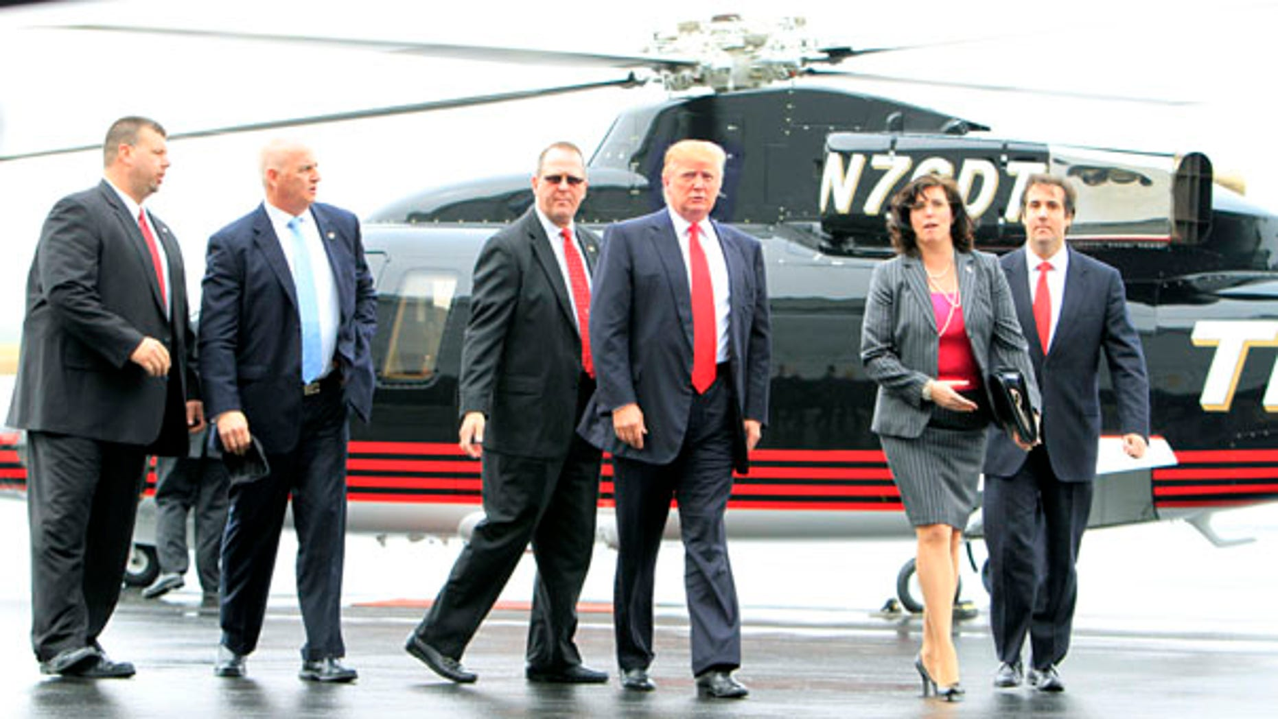 Wednesday: Possible 2012 Republican contender Donald Trump arrives at the Pease International Tradeport in Portsmouth, N.H.