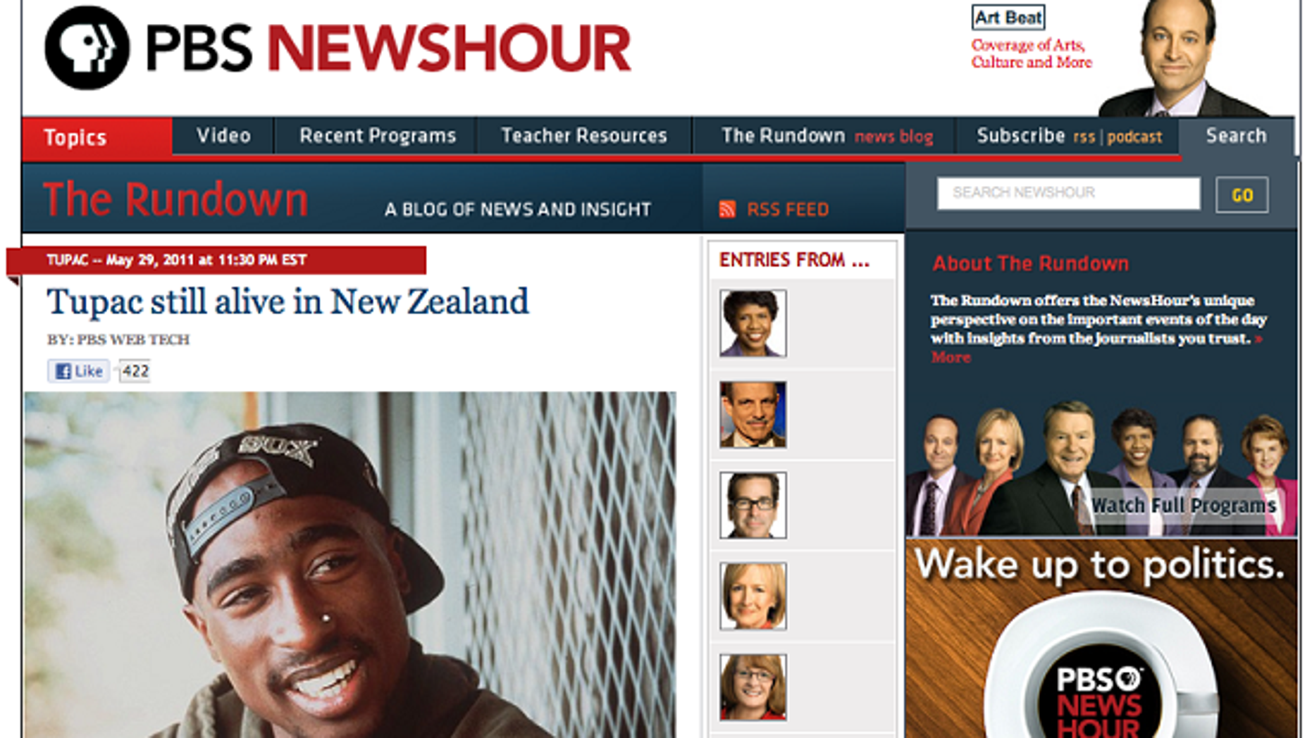 A screen capture of the PBS.org website, after hackers posted a story to the news agency stating that rap icon Tupac Shakur had been found alive in New Zealand.