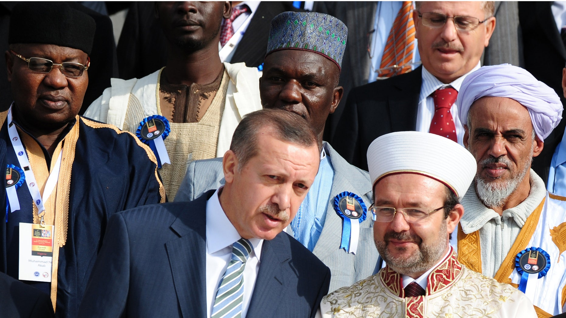 November 21: Turkish Prime Minister Recep Tayyip Erdogan, front left, speaks with Mehmet Gormez, head of Turkey's Religious Affairs Directorate, after a meeting with African Muslim religious leaders in Istanbul, Turkey.