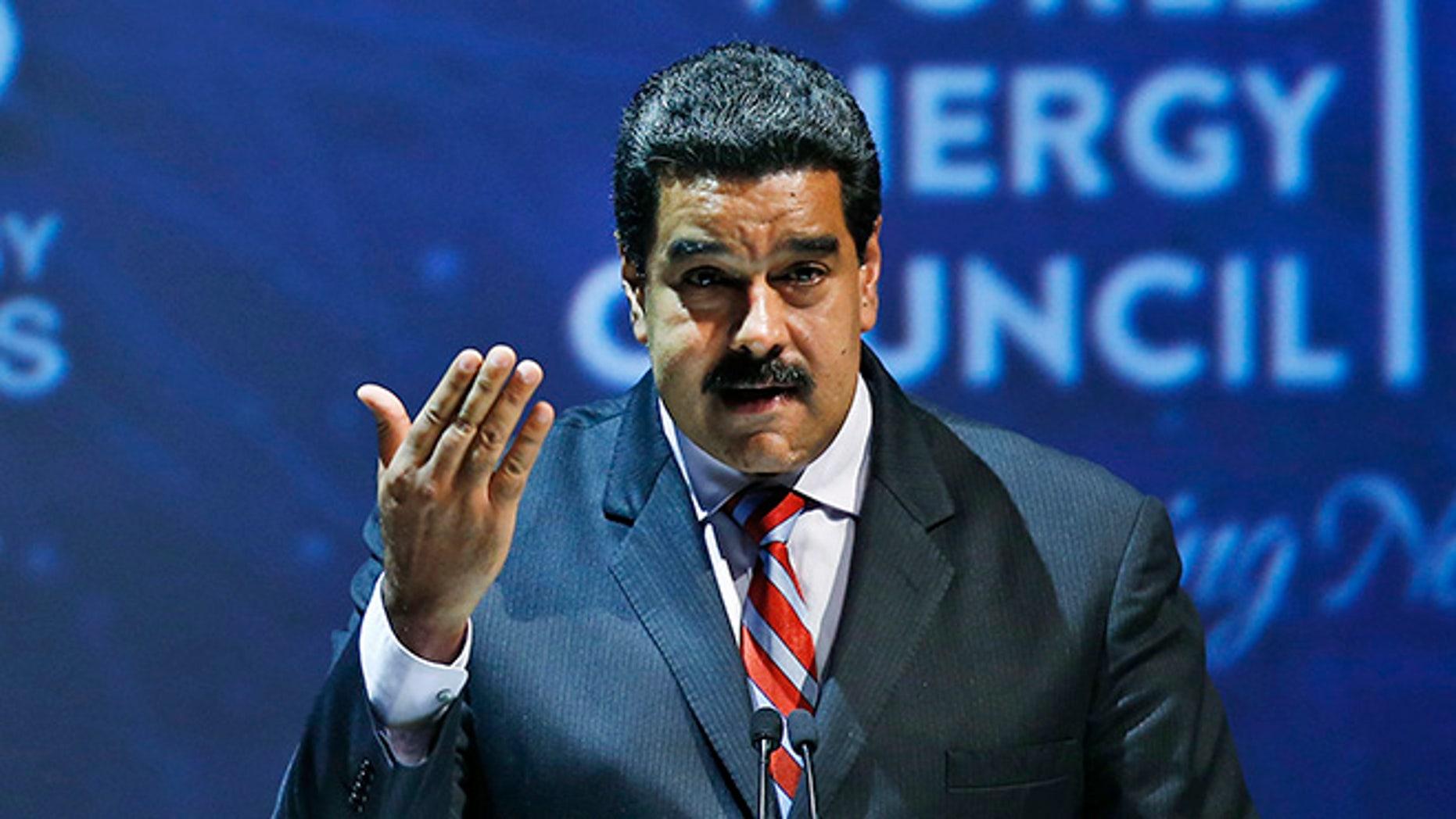 Venezuela's President Nicolas Maduro at the World Energy Congress, in Istanbul, Oct. 10, 2016.