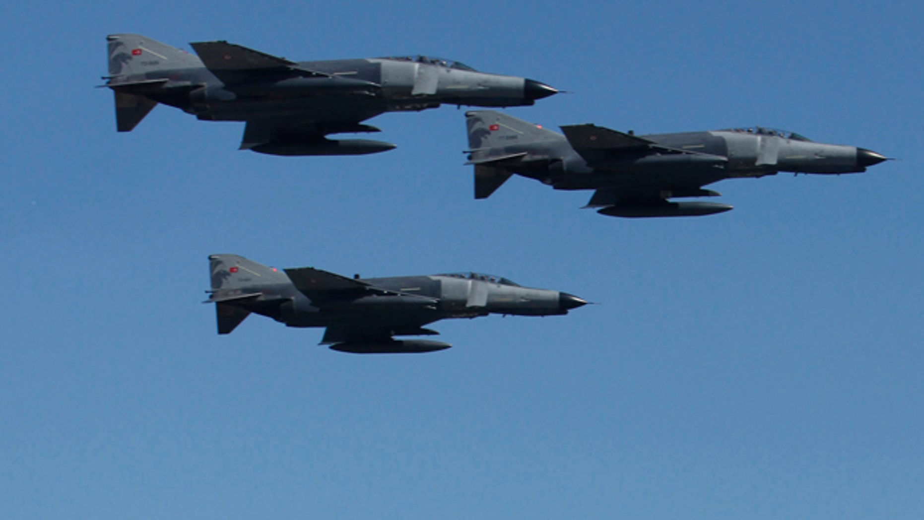 Turkish military aircrafts are shown in this 2010 file photo. Turkey said Syria shot down one of its air force jets Friday.