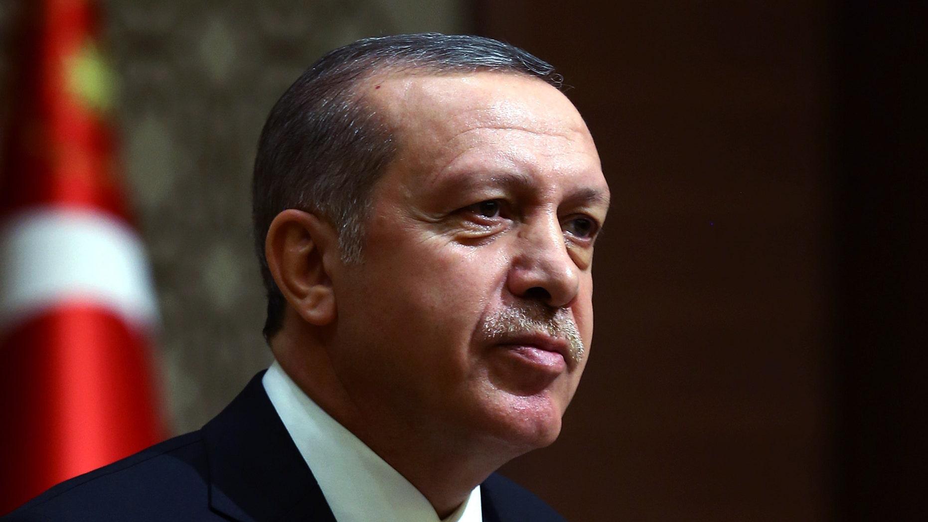 Dec. 12, 2014: Turkey's President Recep Tayyip Erdogan addresses a meeting with business leaders in Ankara, Turkey.