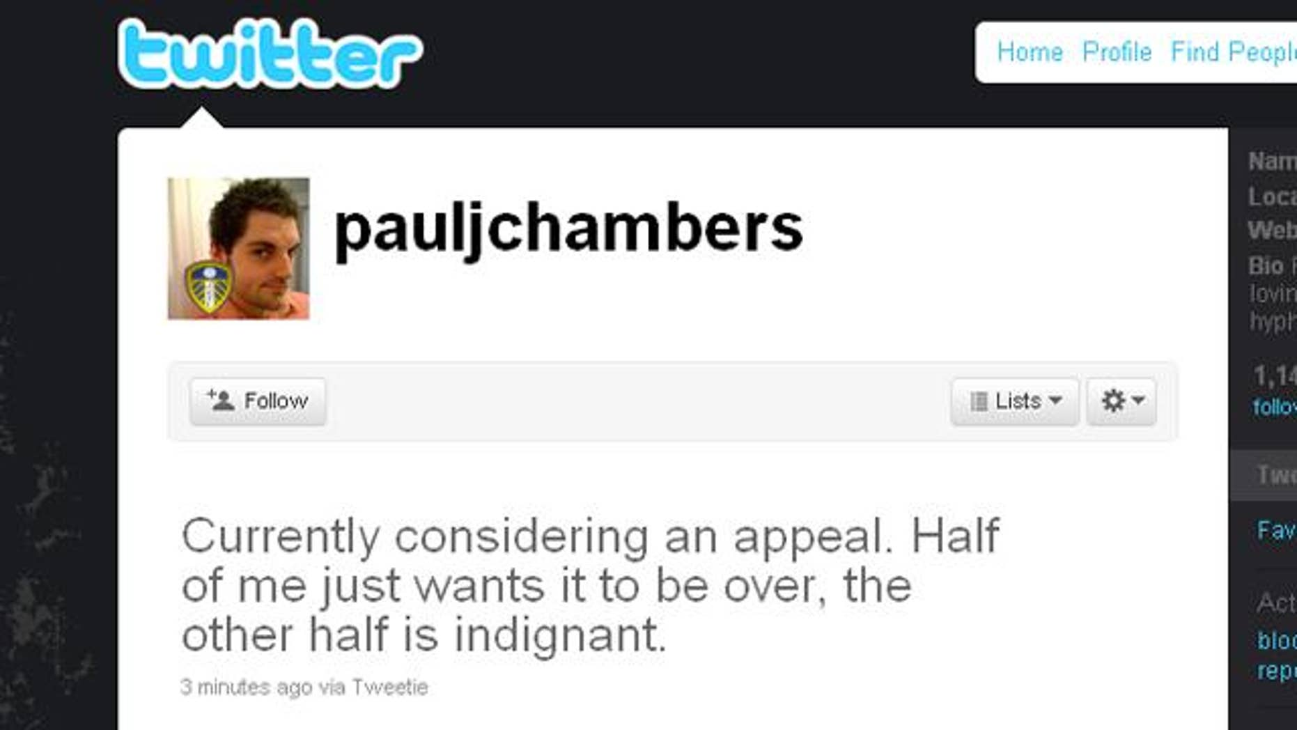 A screen capture of Paul Chambers' Twitter feed, following a conviction for a tweet he wrote threating to blow up an airport.