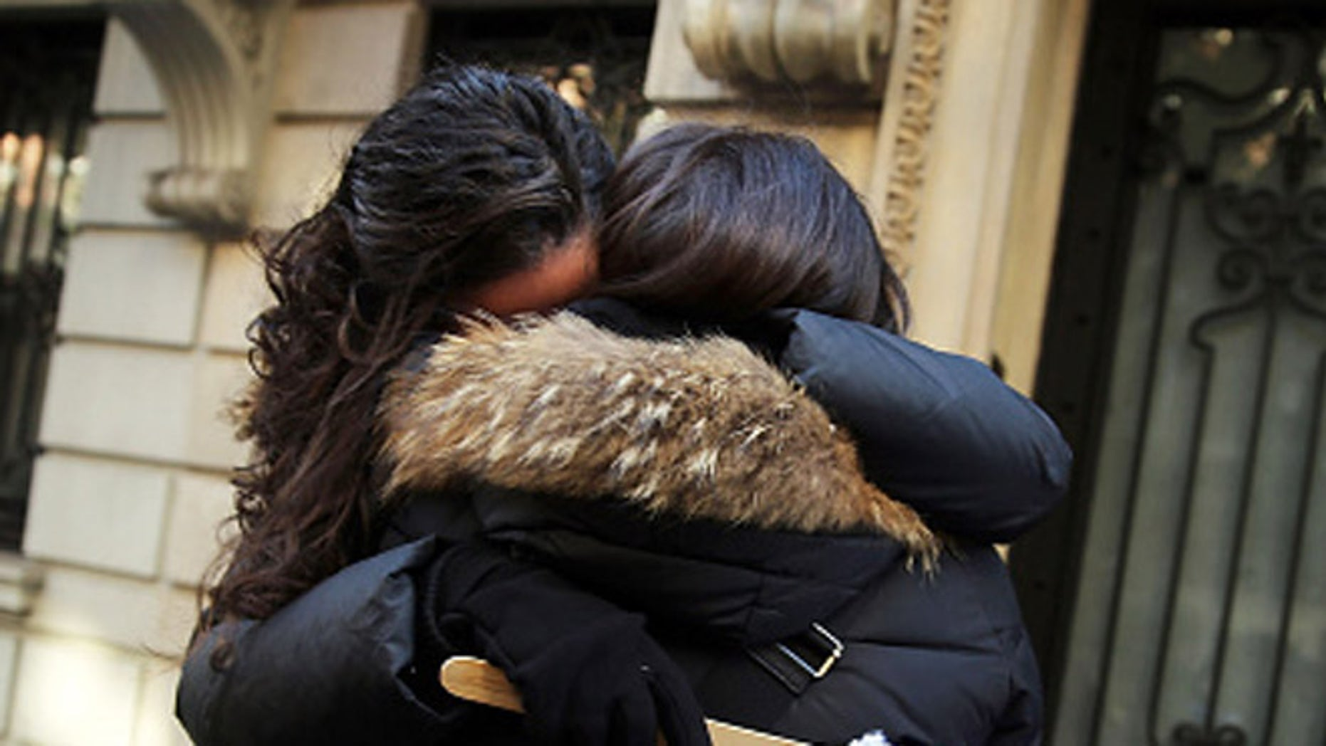 NEW YORK, NY - NOVEMBER 18:  Two women hug at a pro-Israele demonstration in front of the Permanent Observer Mission of the State of Palestine to the United Nations following the death of four men who were reportedly killed by two armed Palestinians on November 18, 2014 in New York City. According to reports, the two men stormed a synagogue in an ultra-Orthodox Jewish neighborhood in West Jerusalem during morning prayers, killing four rabbis, three from the U.S. and one from Britain. There has been a surge of violence in Jerusalem in recent weeks as both Israelis and Palestinians claim ownership of holy sites and land.  (Photo by Spencer Platt/Getty Images)