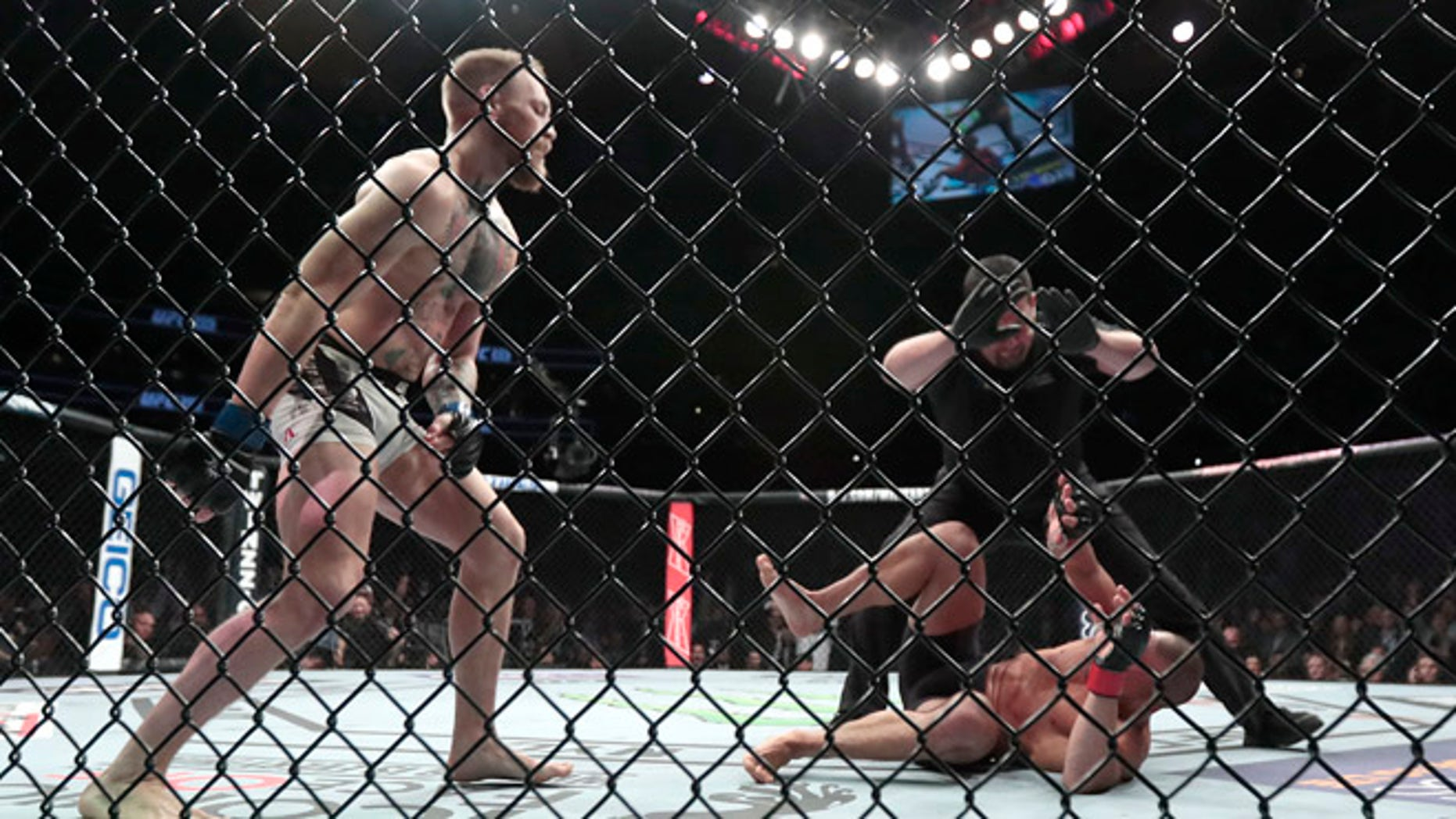 Conor McGregor, left, reacts after the referee stopped his lightweight title mixed martial arts bout against Eddie Alvarez, bottom right, at UFC 205, early Sunday, Nov. 13, 2016, at Madison Square Garden in New York. (AP Photo/Julio Cortez)