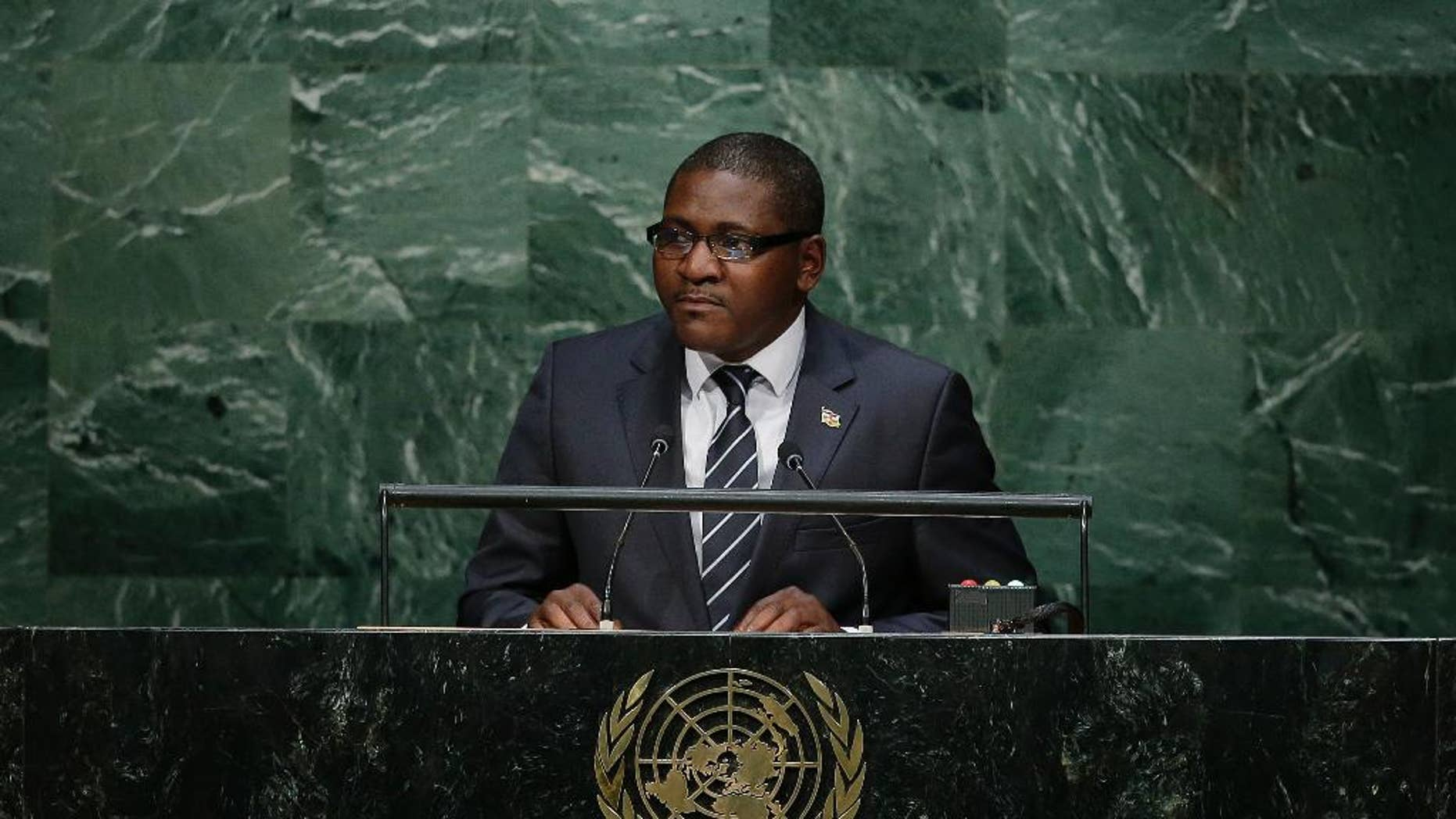 Foreign Minister for the Central African Republic, Samuel Rangba speaks during the 70th session of the United Nations General Assembly at U.N. headquarters Wednesday, Sept. 30, 2015. (AP Photo/Frank Franklin II)