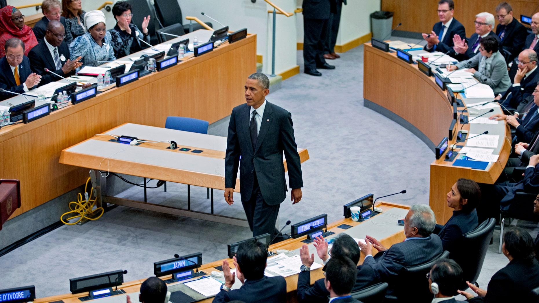 President Barack Obama at U.N. headquarters, Thursday, Sept. 25, 2014.