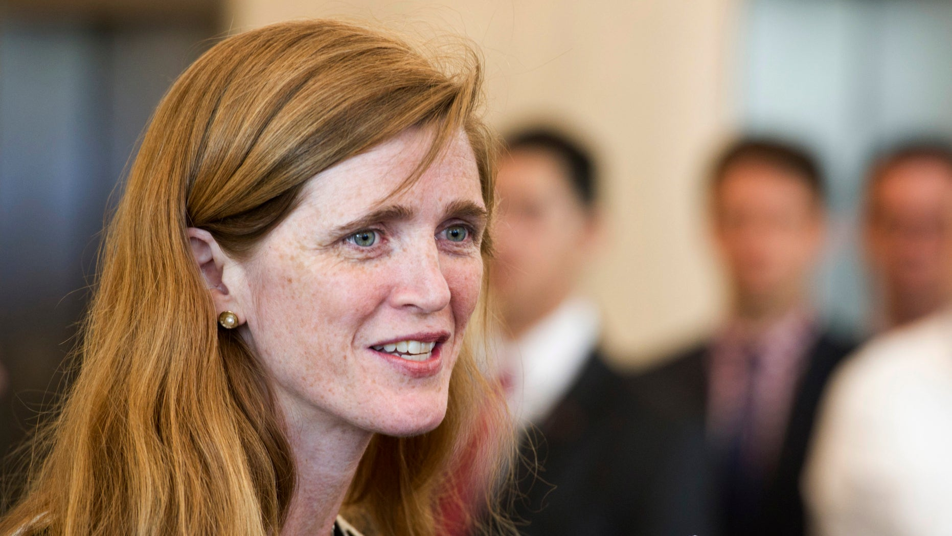In a photo provided by the United Nations, the United States new ambassador to the UN Samantha Power speaks before presenting her credentials to UN Secretary General Ban Ki-moon, Monday, Aug. 5, 2013, at UN headquarters.  A former foreign policy adviser to President Barack Obama, Power succeeds Susan Rice, now the president's national security adviser. (AP Photo/Mark Garten, United Nations)