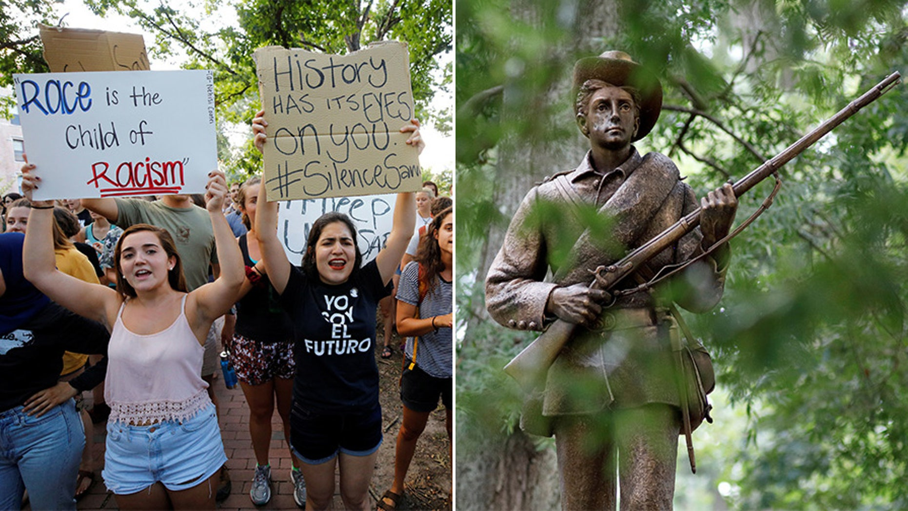 Students rallying for the removal of a statue of a Confederate soldier nicknamed Silent Sam on the campus of the University of North Carolina at Chapel Hill in August.