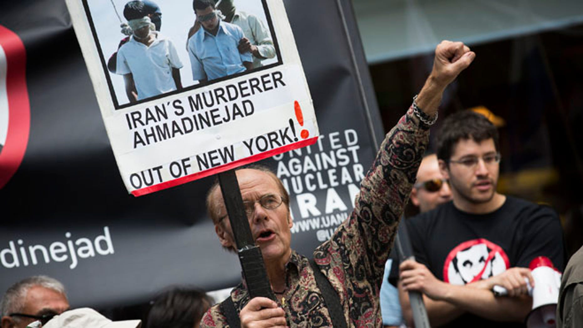 Sept. 24, 2012: Osborn Holmstrand of Sweden, chants during an anti-Mahmoud Ahmadinejad protest near the Warwick hotel in New York.